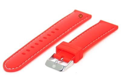 Uhrenarmband 18mm Silikon Rot/Weiß