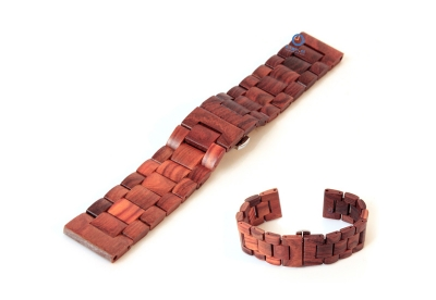 Uhrenarmband aus Holz 24mm Braun (Indian rose)