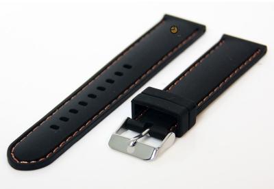 Uhrenarmband 20mm Silikon Schwarz/Orange