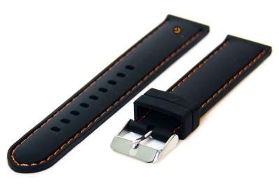 Uhrenarmband 18mm Silikon Schwarz/Orange