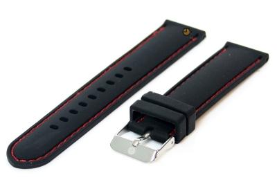 Uhrenarmband 18mm Silikon Schwarz/Rot