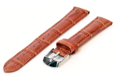 Uhrenarmband 12mm Hellbraun Leder mit Kroko-Druck