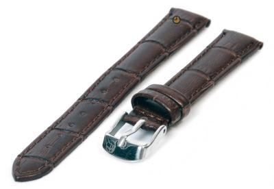 Uhrenarmband 12mm Dunkelbraun Leder mit Kroko-Druck