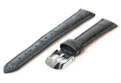 Uhrenarmband 12mm Grau Leder mit Kroko-Druck