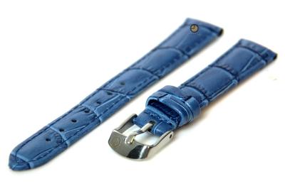 Uhrenarmband 14mm Blau Leder mit Kroko-Druck