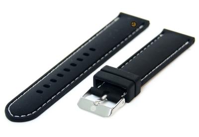 Uhrenarmband 20mm Silikon Schwarz/Weiß