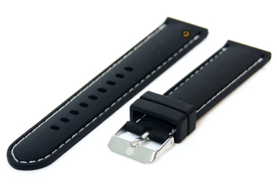 Uhrenarmband 18mm Silikon Schwarz/Weiß