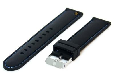 Uhrenarmband 20mm Silikon Schwarz/Blau