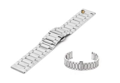Uhrenarmband 22mm Silber Stahl matt