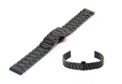 Uhrenarmband 16mm Schwarz Stahl matt