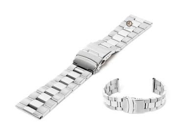 Uhrenarmband 22mm Silber Stahl poliert (teilweise)