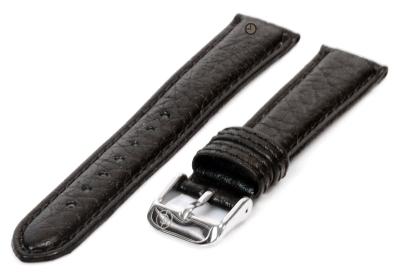 Uhrenarmband 16mm Schwarz Bisonleder