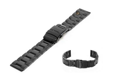 Uhrenarmband 20mm Schwarz Stahl poliert (teilweise)