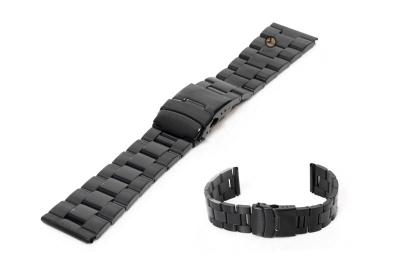 Uhrenarmband 22mm Schwarz Stahl poliert (teilweise)