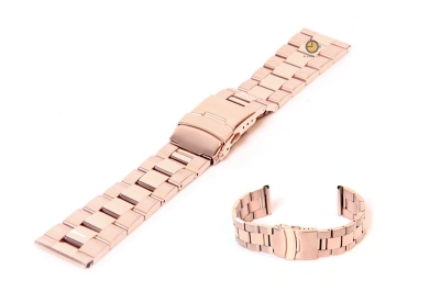 Uhrenarmband 22mm Roségold Stahl poliert (teilweise)