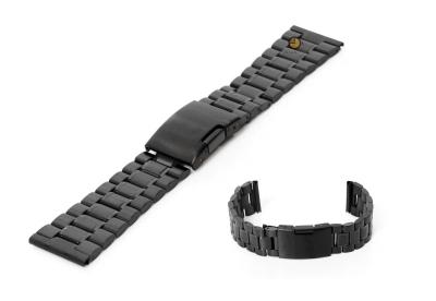 Uhrenarmband 23mm Schwarz Stahl poliert (teilweise)