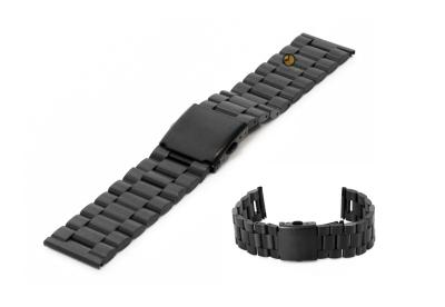 Uhrenarmband 23mm Schwarz Stahl matt