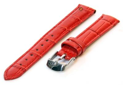 Uhrenarmband 12mm Rot Leder mit Kroko-Druck