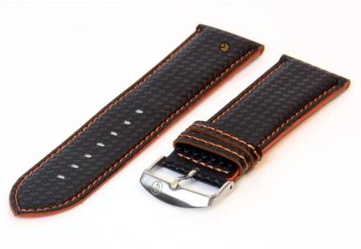 Uhrenarmband 26mm Schwarz-Orange wasserfestes Leder