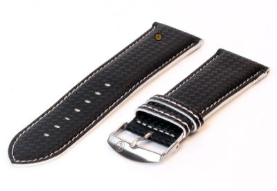 Uhrenarmband 26mm Schwarz-Weiß wasserfestes Leder