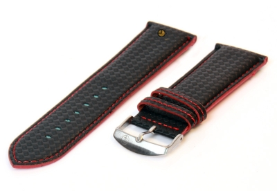 Uhrenarmband 26mm Schwarz-Rot wasserfestes Leder
