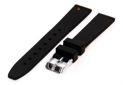 Uhrenarmband 16mm Schwarz Silikon