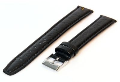 Uhrenarmband 14mm Schwarz Büffelleder extra lang