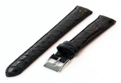 14mm Uhrenarmband Schwarz echtes Krokodilleder