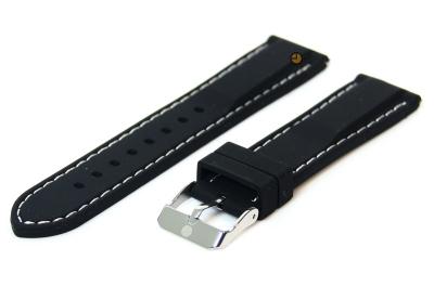 Uhrenarmband 18mm Schwarz-Weiß Silikon mit Quick-Release