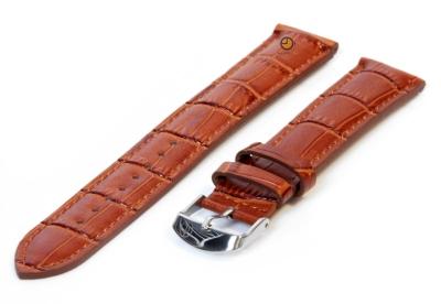 XL Uhrenarmband 16mm Hellbraun Leder mit Kroko-Druck
