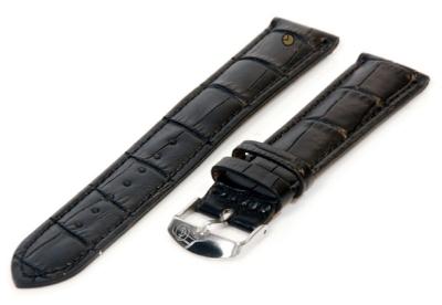 XL Uhrenarmband 16mm Schwarz Leder mit Kroko-Druck