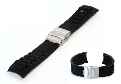 Silikon Rolex-stil Uhrenarmband 24mm Schwarz