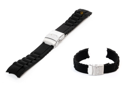 Silikon Rolex-stil Uhrenarmband 20mm Schwarz