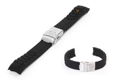 Silikon Rolex-stil Uhrenarmband 16mm Schwarz