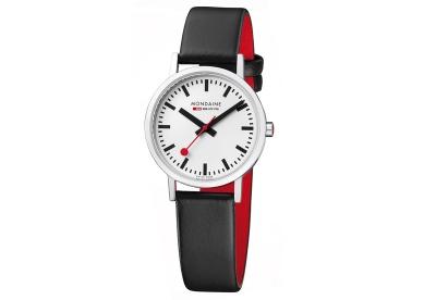 Mondaine 16mm Uhrenarmband Schwarz Rot glänzend
