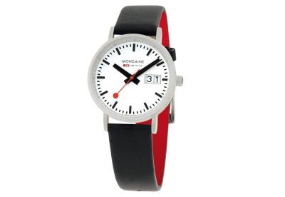 Mondaine 16mm Uhrenarmband Schwarz Rot matt