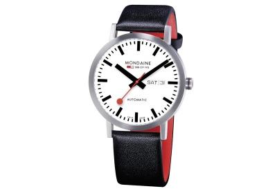 Mondaine 20mm Uhrenarmband Schwarz Rot glänzend
