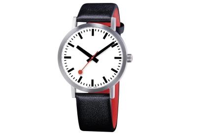 Mondaine 20mm Uhrenarmband Schwarz Rot matt