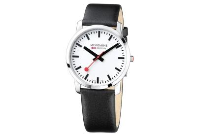 Mondaine 22mm Uhrenarmband Schwarz glänzend