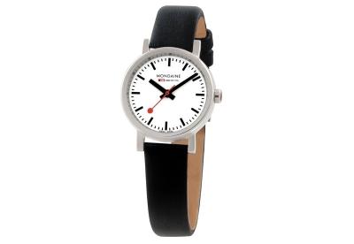 Mondaine 12mm Uhrenarmband Schwarz glänzend