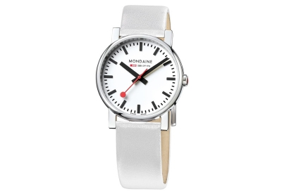 Mondaine 18mm Uhrenarmband Weiß glänzend