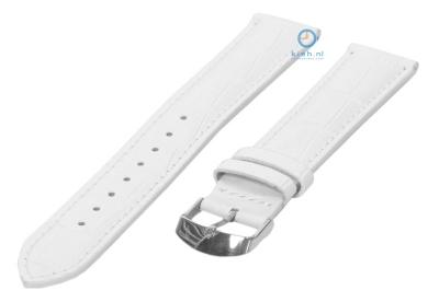 Uhrenarmband 16mm Weiß Leder croco