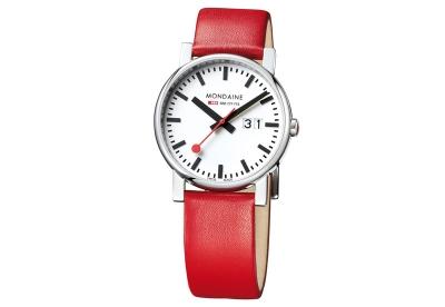 Mondaine 20mm Uhrenarmband Rot glänzend