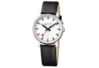 Mondaine 20mm Uhrenarmband Schwarz glänzend