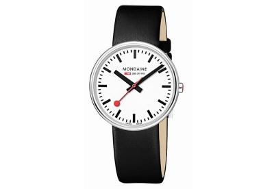 Mondaine 18mm Uhrenarmband Schwarz glänzend