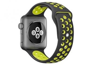 Ersatzband für Apple watch 42mm - Silikon schwarz/gelb