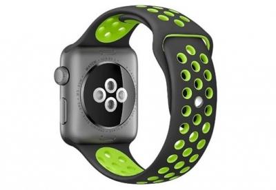 Ersatzband für Apple watch 42mm - Silikon schwarz/grün