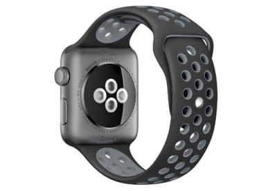 Ersatzband für Apple watch 42mm - Silikon schwarz/grau