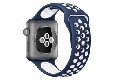Ersatzband für Apple watch 42mm - Silikon blau/weiß