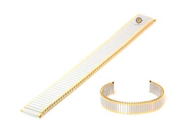 Uhrenarmband 12mm Edelstahlzugband silber/gold